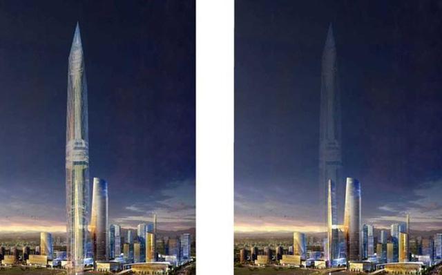 Tòa tháp hòa mình vào hình nền