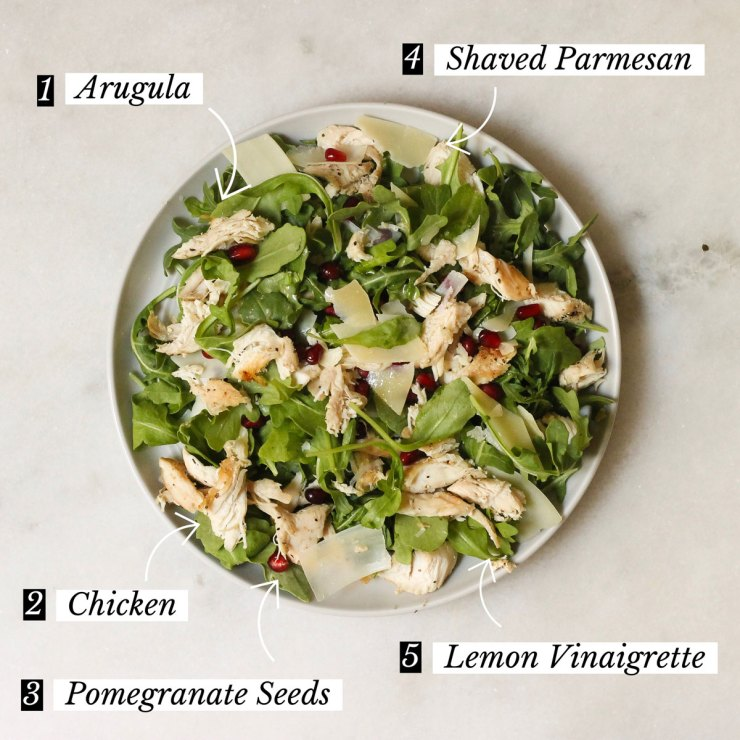 Lemon arugula 5 ingredient chicken salad with instructions