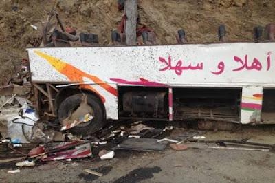عاجل.. انقلاب حافلة قرب الحسيمة ووفاة السائق ومساعده