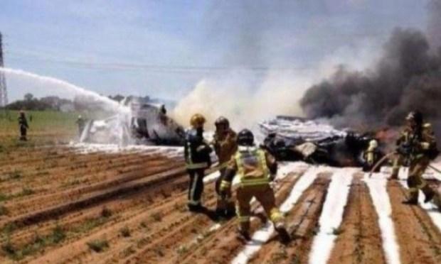 إسبانيا.. تحطم طائرة عسكرية بعد استعراض عسكري