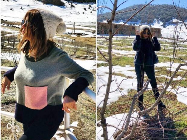 في إفران.. سميرة سعيد تستمتع بالثلوج