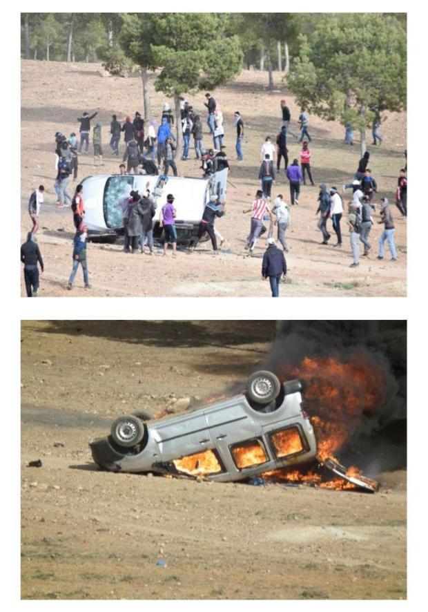 بالصور من جرادة.. إضرام نار وتخريب لسيارات الأمن