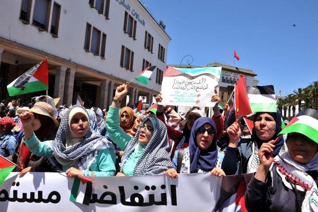 """بالصور من الرباط.. فلسطين """"تُنسي"""" مغاربة في المقاطعة لساعات!"""