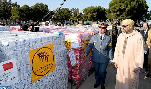 مطار كازا.. الملك يشرف شخصيا على إرسال مساعدات إلى الشعب الفلسطيني