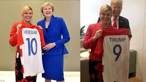 بعد التأهل إلى النهائي.. رئيسة كرواتيا تهدي ترامب ورئيسة الوزراء البريطانية قميص منتخب بلادها (صور)