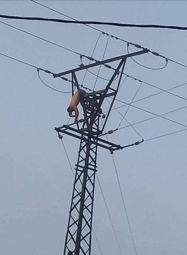 بالفيديو من سوق الثلاثاء.. انتحار عشريني في عمود كهرباء