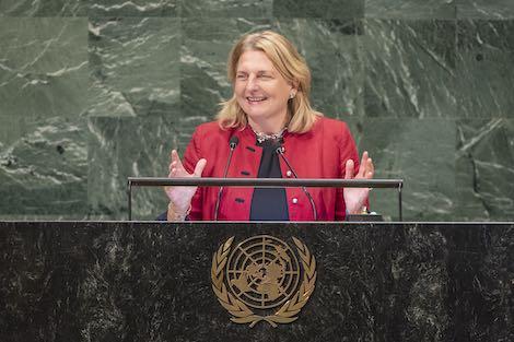 بالفيديو من الأمم المتحدة.. وزيرة خارجية النمسا تلقي خطابا باللغة العربية