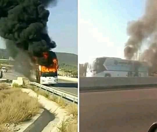 بالفيديو.. النيران تلتهم حافلة فريق وفاق اسطيف الجزائري