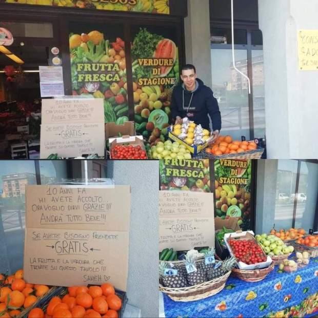 تضامنا مع السكان خلال حالة الطوارئ.. مهاجر في إيطاليا يعرض منتجات غذائية بالمجان
