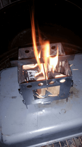 Collapsible camping stove made of titanium