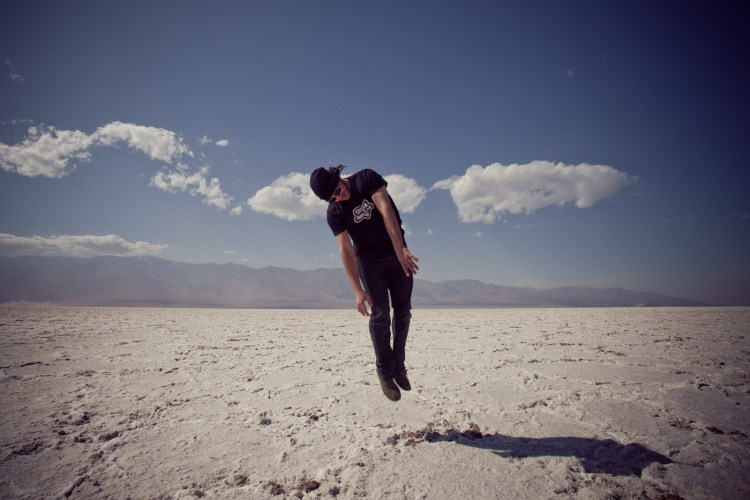 Marius flying in Badwater Basin