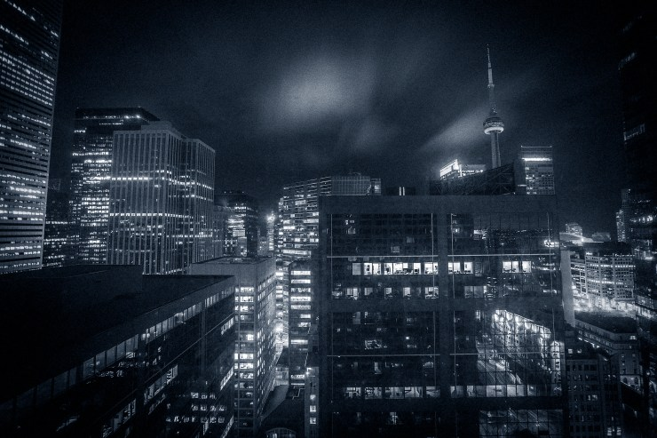 Toronto from my hotel-room at the Hilton downtown. They need to wash their windows..