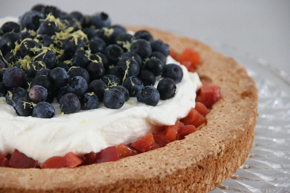 Opskrift på lækker og frisk mandelkage med nektarinkompot og friske blåbær