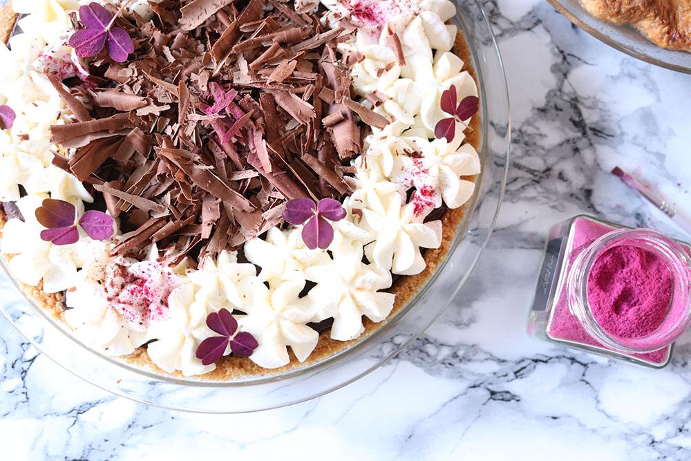 Chokoladetærte, chocolate silk pie til kagebordet