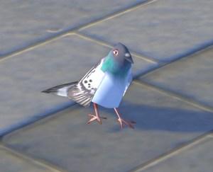 スクリーンショットを撮ってたら、近くに鳩が…よく見るとかなりのローポリでびっくり。ちょとカワイイ。