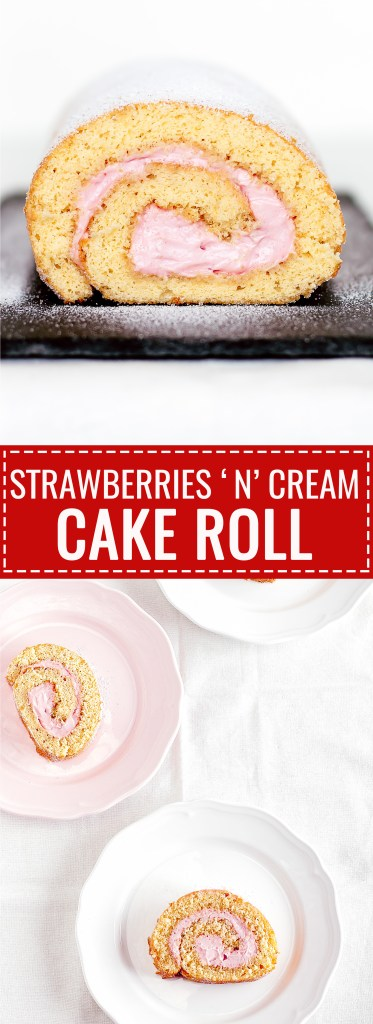 Cream Cheese Strawberry Roll Cake - So rich and good! - via kikalicious.com - #RollCake #Strawberry #Creamcheese