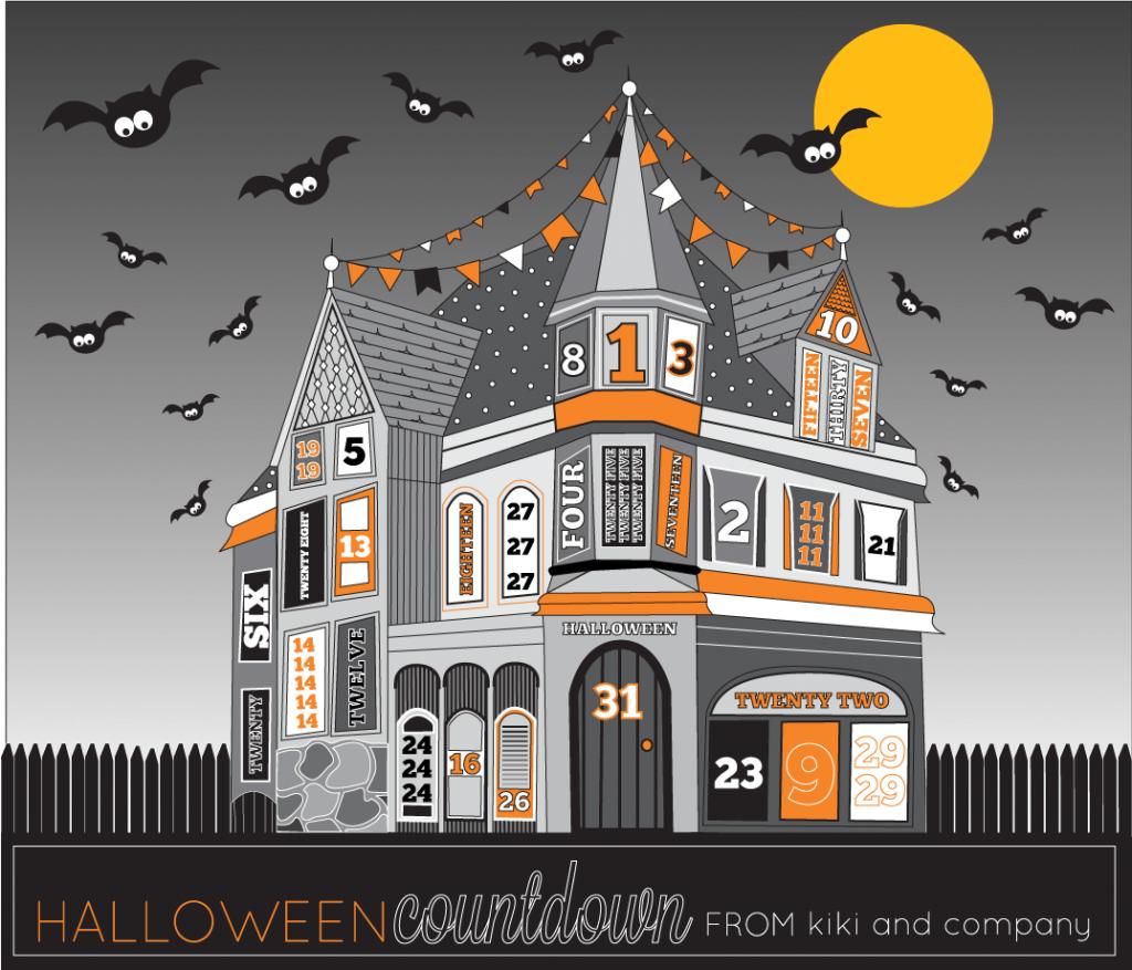Halloween haunted house Halloween countdown free printable