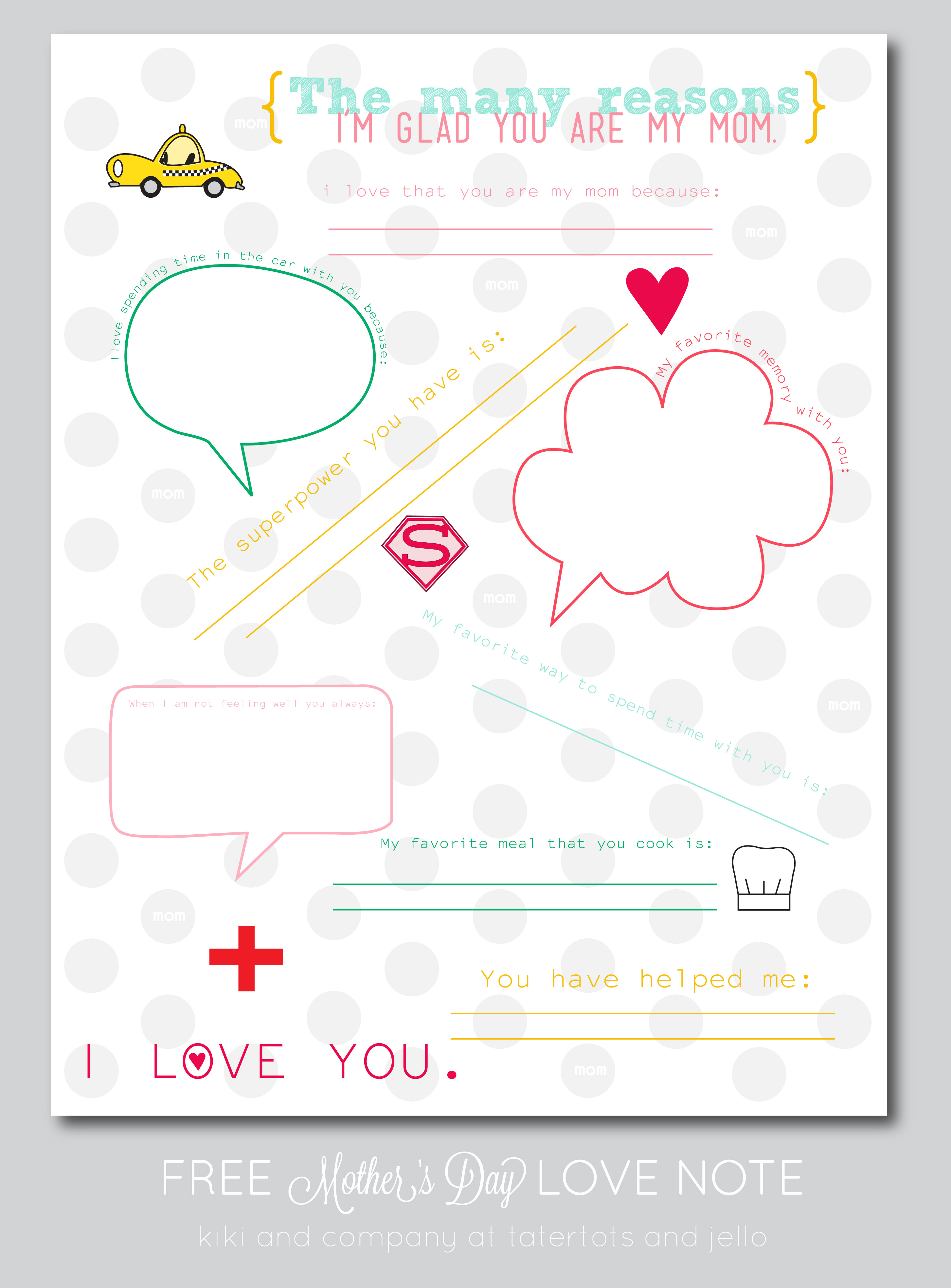 Free Mother S Day Love Note Printable