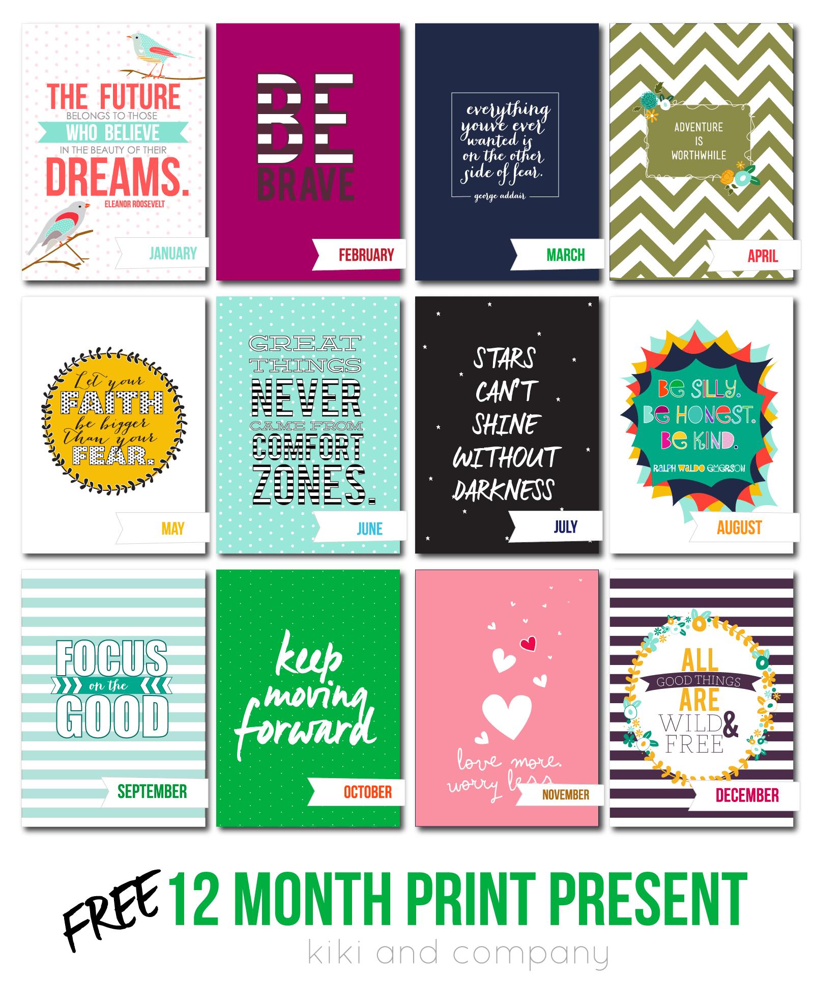 12 Month Print Christmas Present Free Printables