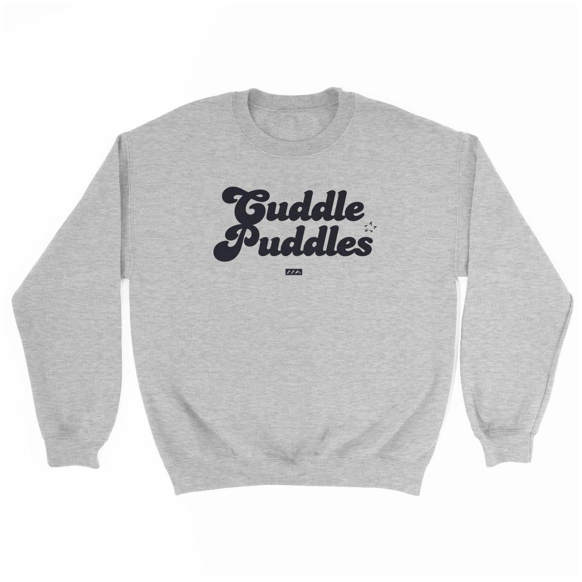 CUDDLE PUDDLE PARTY comfy sweatshirt in grey at kikicutt.com