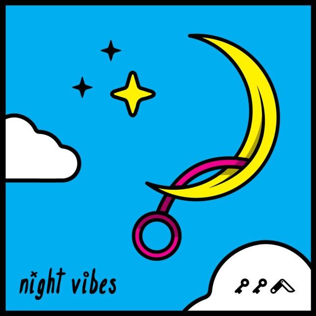 """NIGHT VIBES"" adult cartoon masturbating moon vibratory kikicutt"