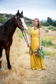 Los Angeles Wedding Bridesmaid and horse