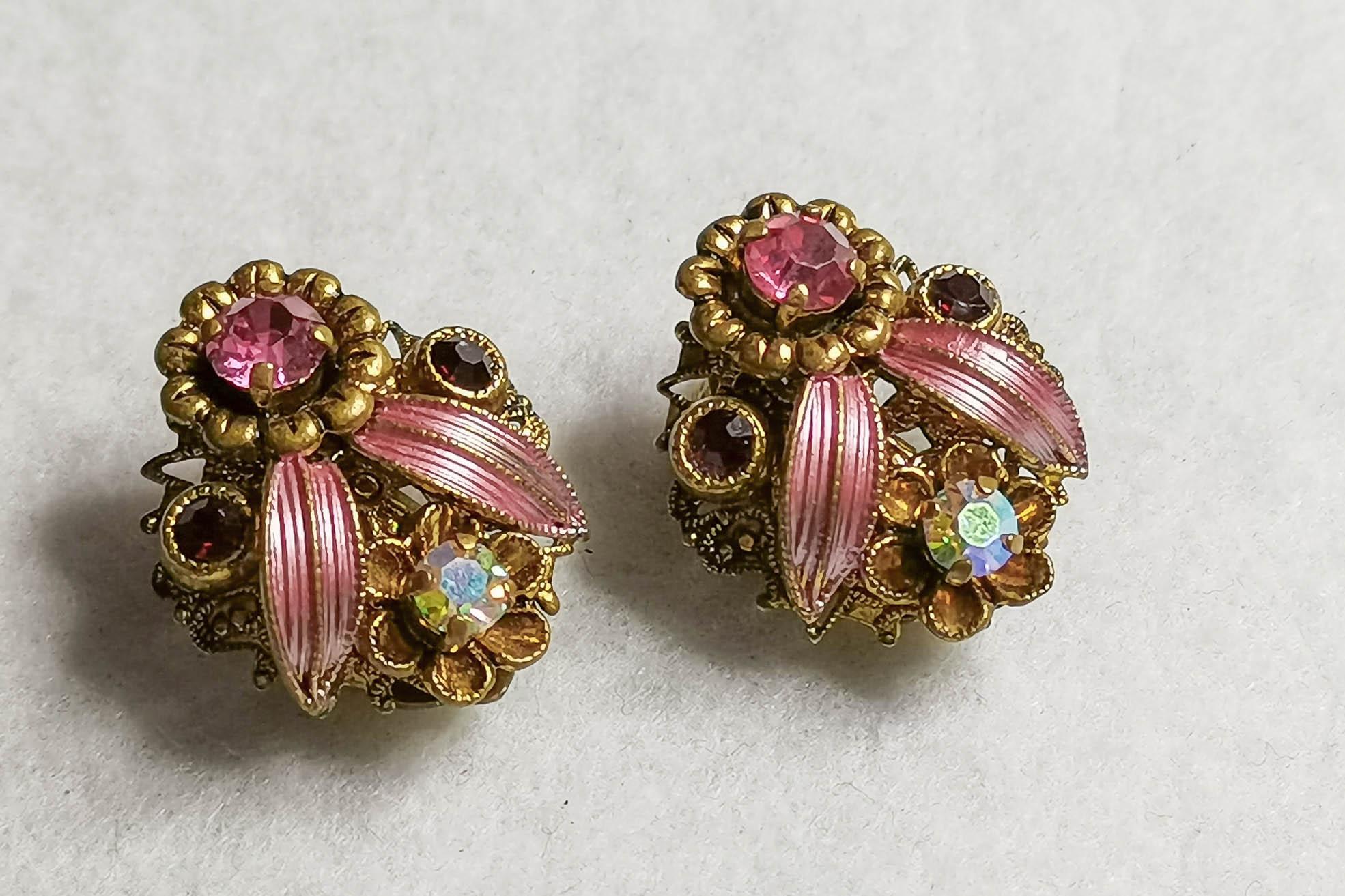pink filigree earrings