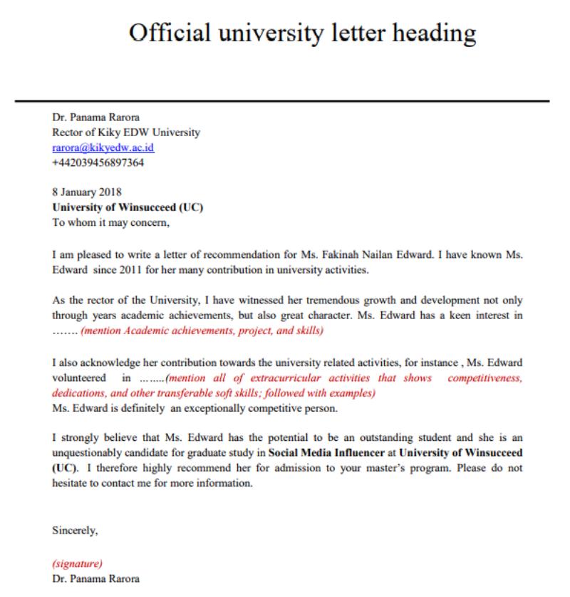 Format Menulis Surat Rekomendasi Untuk Mendaftar