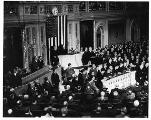 """FDR """"day of infamy"""" speech to Congress"""