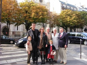 With French friends outside the American Cathedral in Paris.
