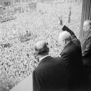 Churchill addressing the crowds in Whitehall - V.E. Day - May 8, 1945