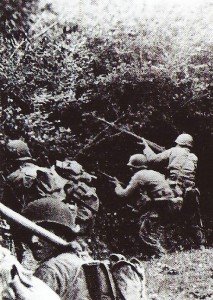 Almost impassable French hedges with U.S. soldiers