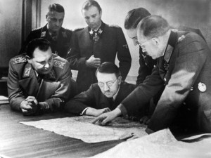 Hitler reviewing his plans with his generals
