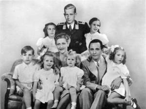 The Goebbels family with Magda Goebbels' son from a previous marriage at the rear