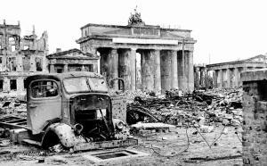 The ruins surrounding the Brandenburg Gate - May 1945