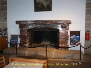 Mussolini's marble fireplace