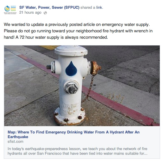 SFPUC Says Emergency Drinking Hydrants Discontinued