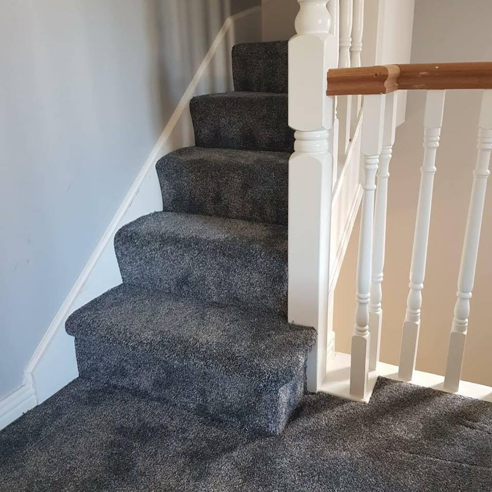Stair Carpet Kildare Carpets And Flooring   Blue Carpet On Stairs   Wooden   Grey Stair White Wall   Antelope   Geometric   Gray