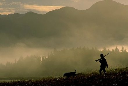 Photo silhouette of hunter and gun with dog in the morning mist