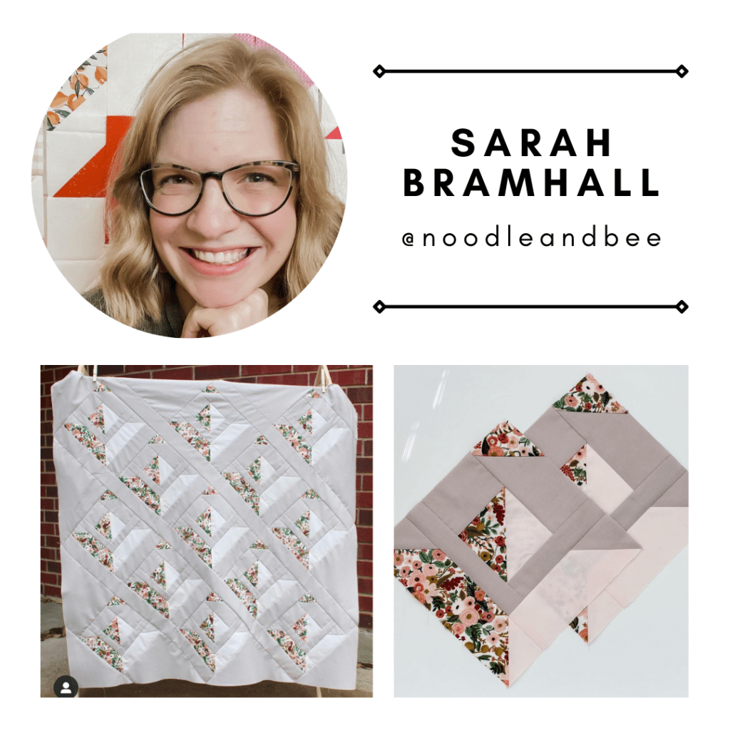 Pattern tester Sarah Bramhall from @noodleandbee with her Paper Planes Quilt