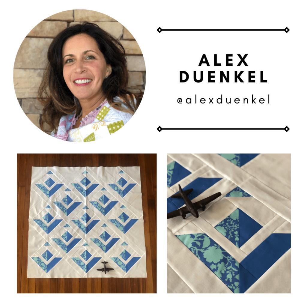 Pattern tester Alex Duenkel from @alexduenkel with her Paper Planes Quilt