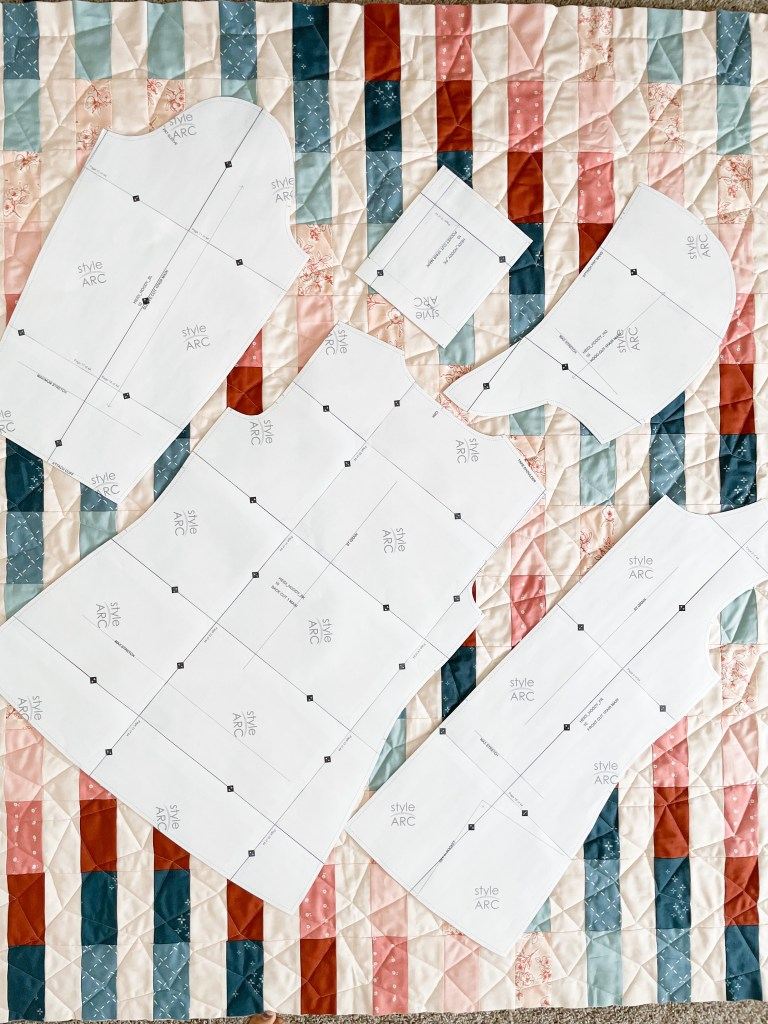 jacket templates on quilt top