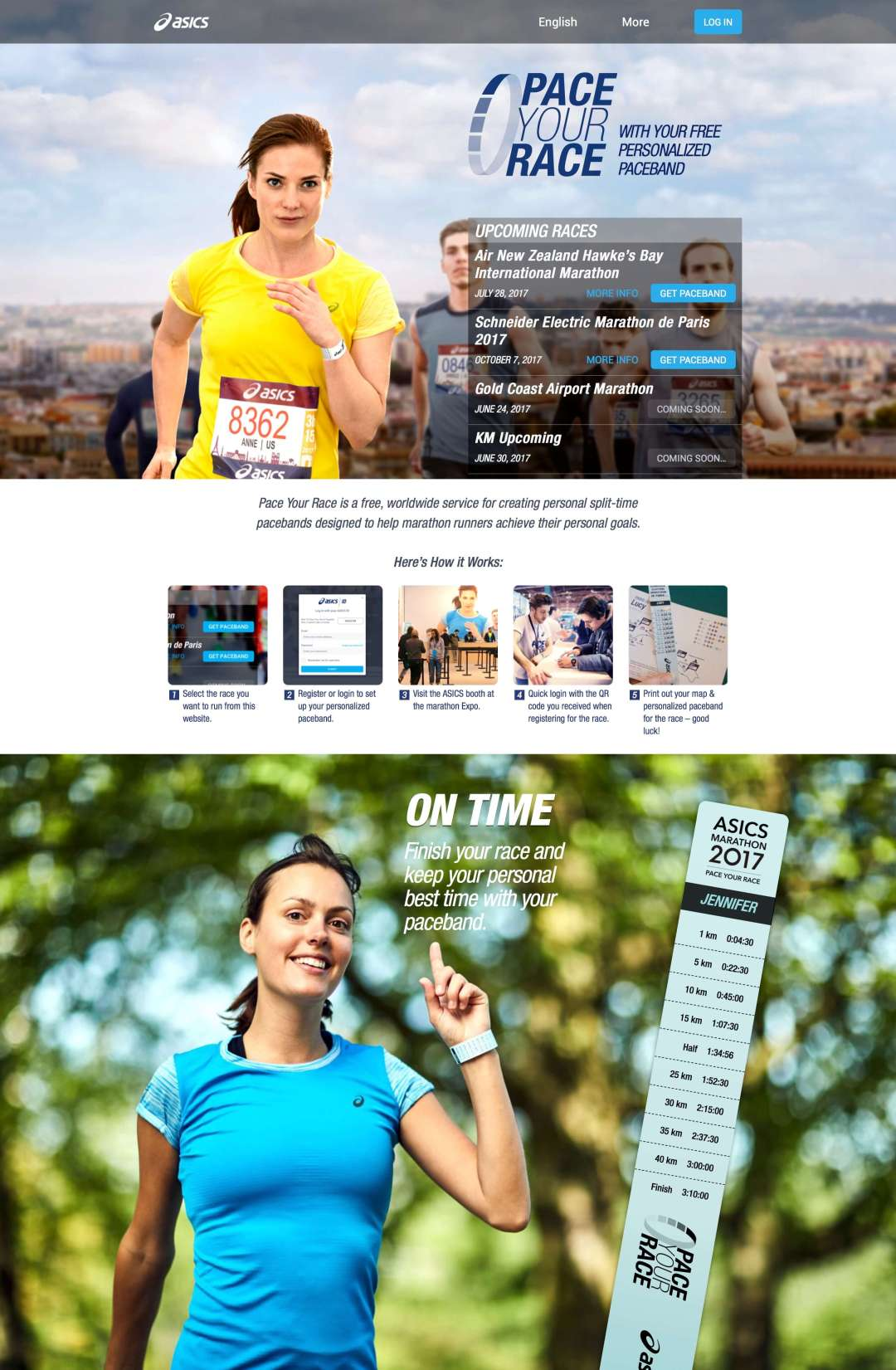 Pace Your Race registration screen