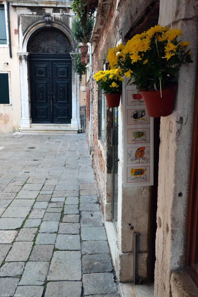 piccolo angolo di una bottega veneziana con fiori gialli