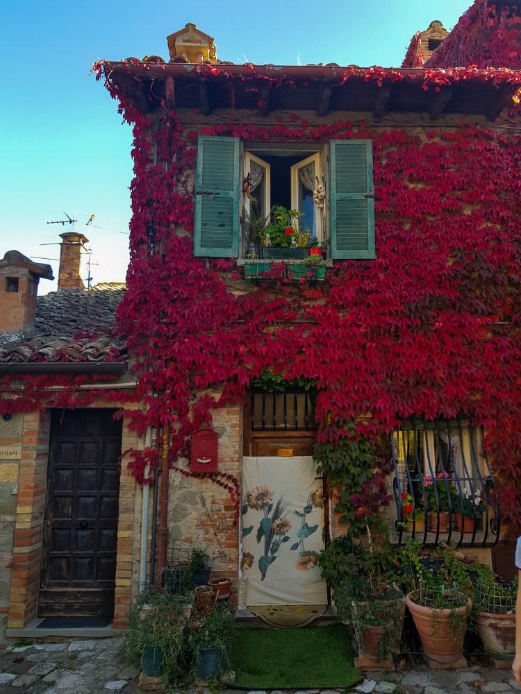 bellissima casetta tradizionale con edera rossa a sant'agata feltria