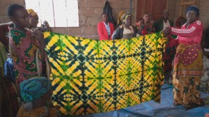 women presenting self-made batik cloth