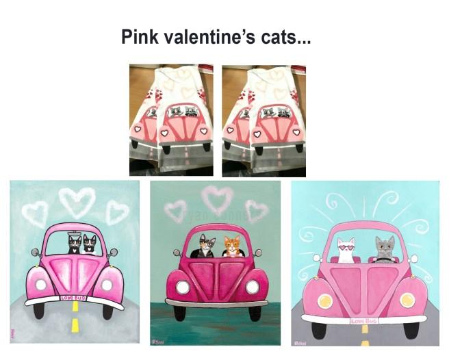 pink valentine cats