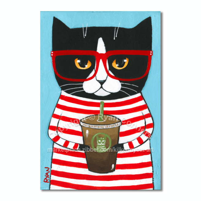 tux coffee cat