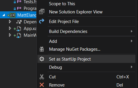 Project context menu in Solution Explorer with Set as Startup Project highlighted.