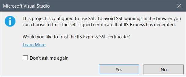 SSL Warning dialog
